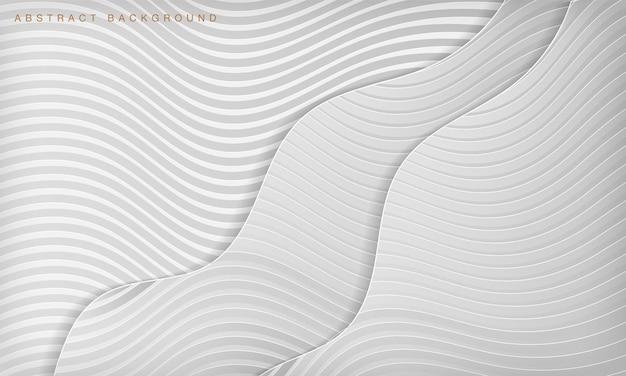 Fondo bianco astratto dello strato di papercut della curva dell'onda