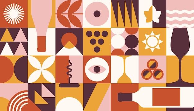 Banner di vino astratto in stile geometrico