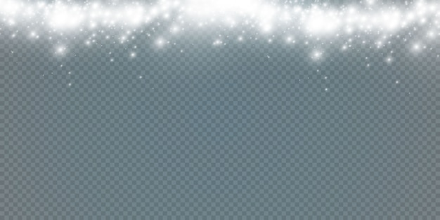 Priorità bassa astratta di inverno dai fiocchi di neve mossi dal vento su uno sfondo bianco trasparente