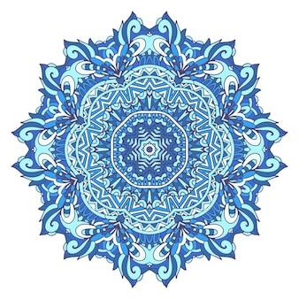 Mandala arabesco geometrico etnico blu di inverno astratto.