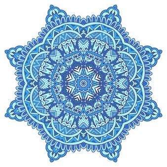 Decorazione astratta mandala geometrica etnica blu inverno. fiocco di neve in stile arte popolare