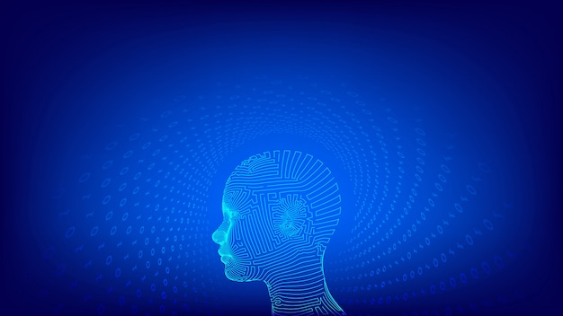 Viso umano digitale astratto wireframe. aihuman testa nell'interpretazione digitale del robot.