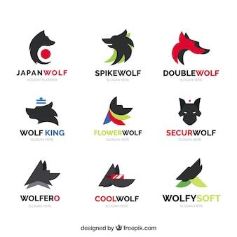 Collezione di logo lupo astratto