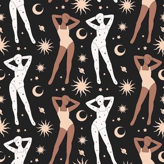 Donna astratta in costume da bagno con l'illustrazione senza cuciture del modello di stile di boho delle stelle, delle piante e delle lune