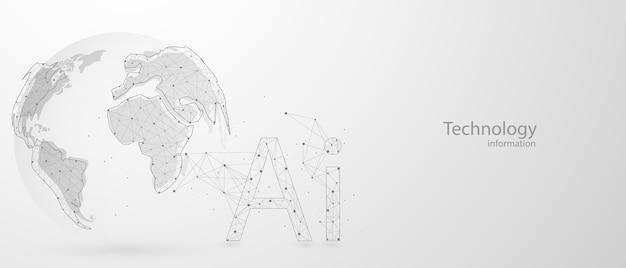 Fondo astratto di concetto di comunicazione di tecnologia dei dati del computer di ai del mondo
