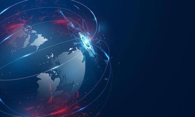Concetto di comunicazione della tecnologia dei dati del computer del mondo astratto