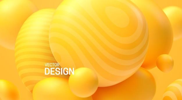 Fondo giallo astratto con sfere 3d dinamiche
