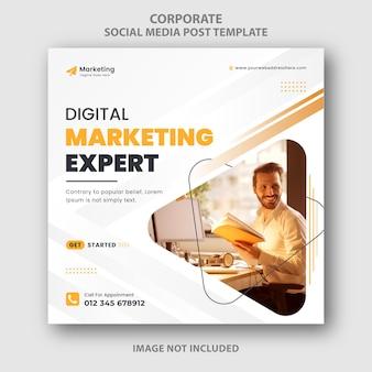 Modello di banner post social media marketing digitale astratto giallo