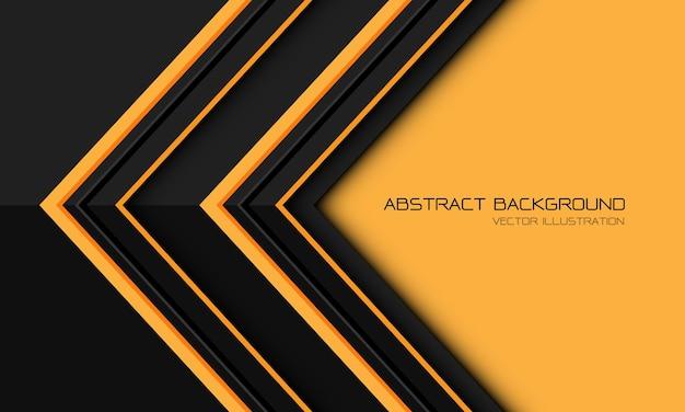 La direzione metallica grigia gialla astratta della freccia geometrica con il fondo futuristico moderno di progettazione dello spazio vuoto