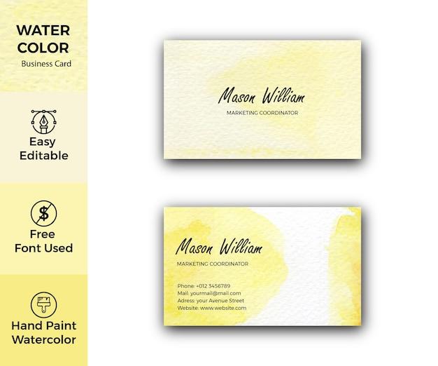 Modello di biglietto da visita aziendale dell'acquerello giallo astratto