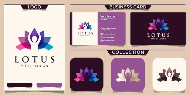 Logo umano astratto di yoga. logotipo dell'equilibrio del fiore della persona del filo. spa creativa, marchio di vettore guru.
