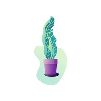 Pianta in vaso di astrazione. illustrazione vettoriale delle foglie di una pianta d'appartamento. illustrazione di giardinaggio in stile moderno e semplice arte piatta. fiore isolato su sfondo bianco