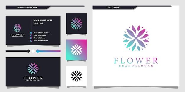 Abstrak design del logo del fiore con un fantastico stile di colore sfumato e design del biglietto da visita vettore premium