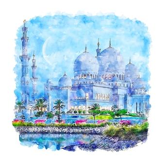 Illustrazione disegnata a mano di abbozzo dell'acquerello degli emirati arabi uniti di abu dhabi