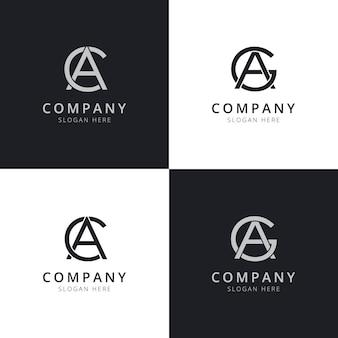 Modelli di logo iniziale della lettera ac ag