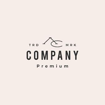 Ac lettera marchio iniziale hipster logo vintage