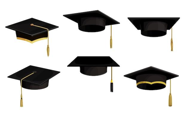 Icone isolate cappucci accademici, cappelli neri di laurea universitaria del fumetto con nappe e pizzo dorato.