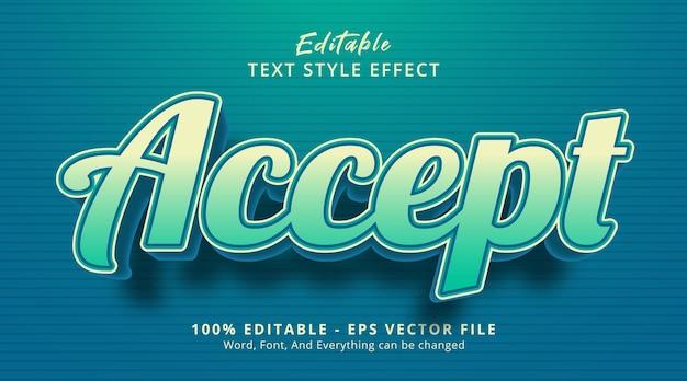 Accetta il testo su uno stile di combinazione di colori blu intenso, effetto di testo modificabile