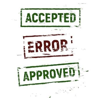 Timbri accettati, approvati e di errore impostati in stile grunge