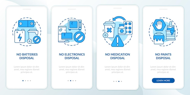 Schermata della pagina dell'app mobile onboarding blu spazzatura non accettata. non smaltimento rifiuti guida 4 passaggi istruzioni grafiche con concetti. modello vettoriale ui, ux, gui con illustrazioni a colori lineari