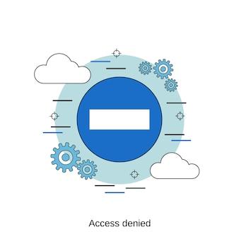 Illustrazione di concetto di vettore di stile di design piatto di accesso negato