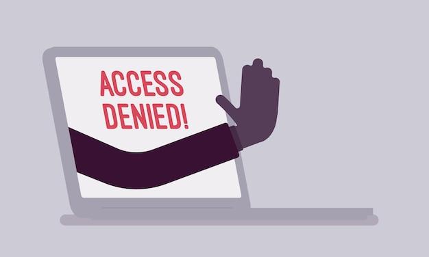 Segno di accesso negato sullo schermo del laptop. mano dal dispositivo che mostra che l'utente non ha il permesso di archiviare, il sistema rifiuta la password e l'accesso ai dati del computer, errore con segnale rosso. illustrazione vettoriale