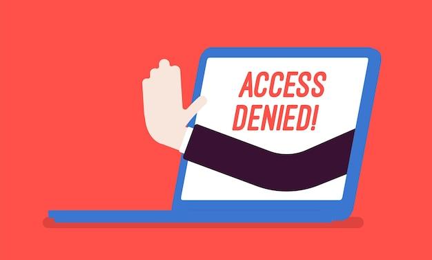 Segno di accesso negato sullo schermo del laptop