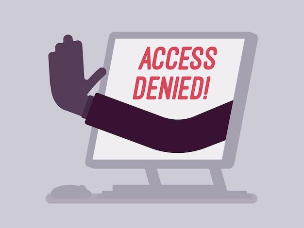 Segnale di accesso negato sullo schermo del monoblocco. mano dal dispositivo che mostra che l'utente non ha il permesso di archiviare, il sistema rifiuta la password e l'accesso ai dati del computer, errore con segnale rosso. illustrazione vettoriale