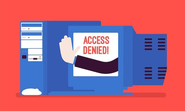 Segno di accesso negato sullo schermo del vecchio pc