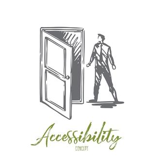Accesso, porta, apri, entra, concetto di affari. uomo disegnato a mano vicino a schizzo di concetto di porta aperta.