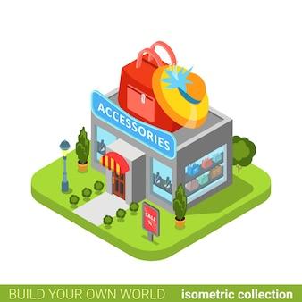 Accessori vestiti abbigliamento moda boutique negozio borsa cappello forma edificio immobiliare concetto di proprietà.