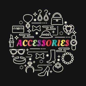 Gradiente di accessori colorati con set di icone di linea