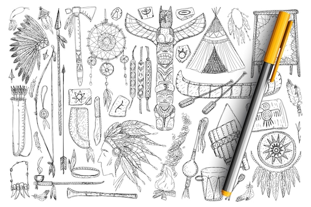 Accessori se gli indiani scarabocchiano insieme. collezione di piume disegnate a mano, strumenti, strumenti musicali, barche, strumenti per la caccia e simboli curati isolati.