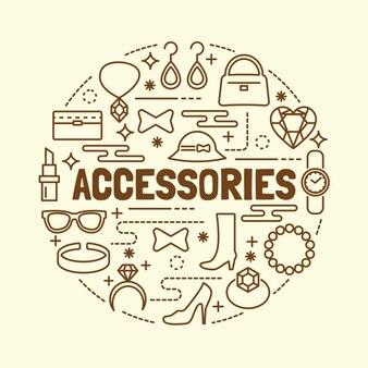 Set di icone di sottile linea di accessori