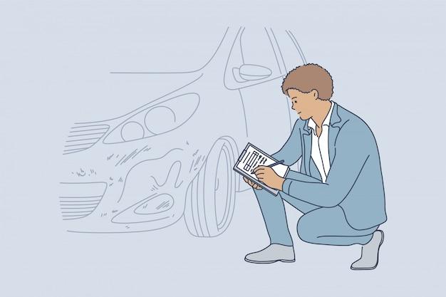 Concetto di automobile di collisione di controllo di esame di incidente
