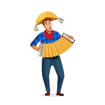 Giocatore di fisarmonica di festa junina brasile