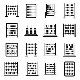 Abaco di contabilità set di icone vettore semplice. calcolo aritmetico. educazione finanziaria