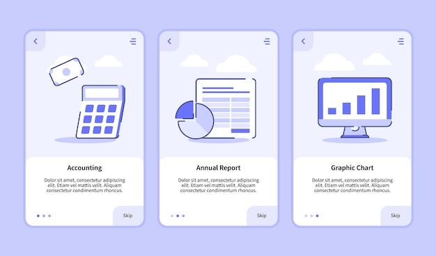 Grafico grafico report annuale contabile per app mobili
