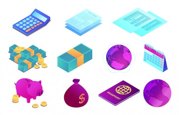 Insieme isometrico dell'illustrazione 3d degli oggetti di attività bancarie e di contabilità.