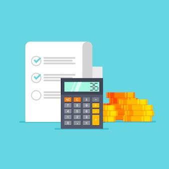 Concetto di contabilità documenti della pila di monete del calcolatore rapporto di pianificazione della ricerca di analisi