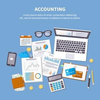 Concetto di contabilità. analisi finanziaria, pagamento delle tasse, giorno di paga, calcolo, statistica, ricerca. moduli, grafici, documenti, calendario, calcolatrice, portafoglio, denaro, carta di credito, monete, scrivania.