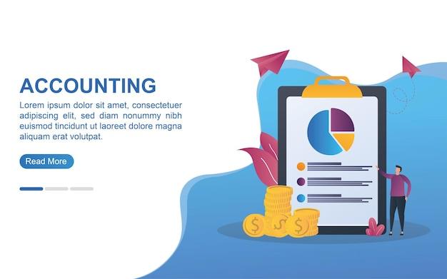 Concetto di contabilità per landing page o banner web.