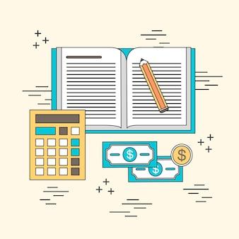 Concetto di contabilità: notebook e computer in stile linea