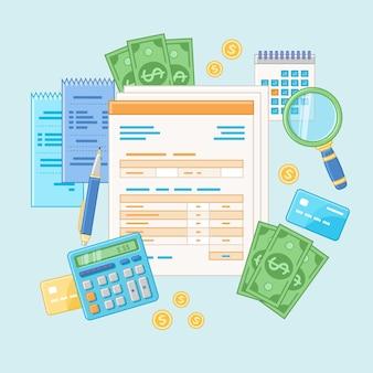 Concetto di contabilità. pagamento delle tasse e fattura. analisi finanziaria, analitica, pianificazione, statistica, ricerca. documenti, moduli, calcolatrice, assegni, lente d'ingrandimento, contanti, carte di credito.