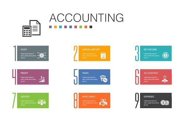 Contabilità infografica 10 concetto di linea di opzioni.asset, relazione annuale, reddito netto, icone semplici del contabile