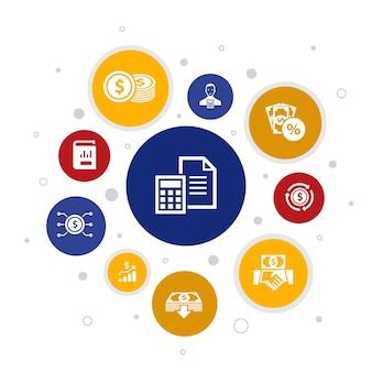 Contabilità infografica 10 passaggi di progettazione a bolle. asset, relazione annuale, reddito netto, icone semplici di ragioniere
