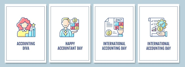 Biglietti di auguri per la promozione della professione contabile con set di elementi icona a colori. vacanza globale. disegno vettoriale di cartolina. volantino decorativo con illustrazione creativa. notecard con messaggio di congratulazioni