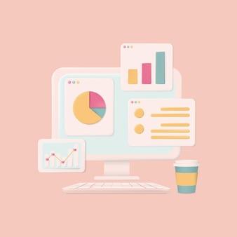 Sistema di contabilità, concetto pastello. ci sono computer portatile, schermo grafico e spazio di lavoro. illustrazione vettoriale