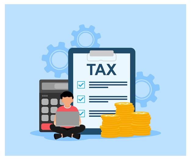 Contabilità tasse audit calcolo reporting dei dati design piatto