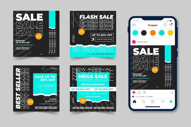 Set di post di instagram di vendita acida